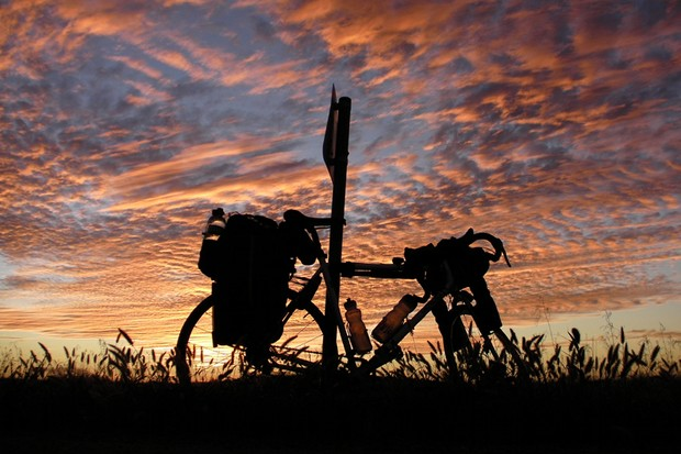Life on the road isn't all hardship and saddle sores – there are also moments of beauty, like this sunset in Australia
