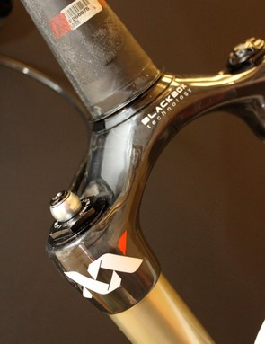 The BlackBox carbon crown steerer assembly saves roughly 100g