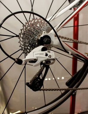 The Apex Arctic White rear WiFLi long cage rear derailleur