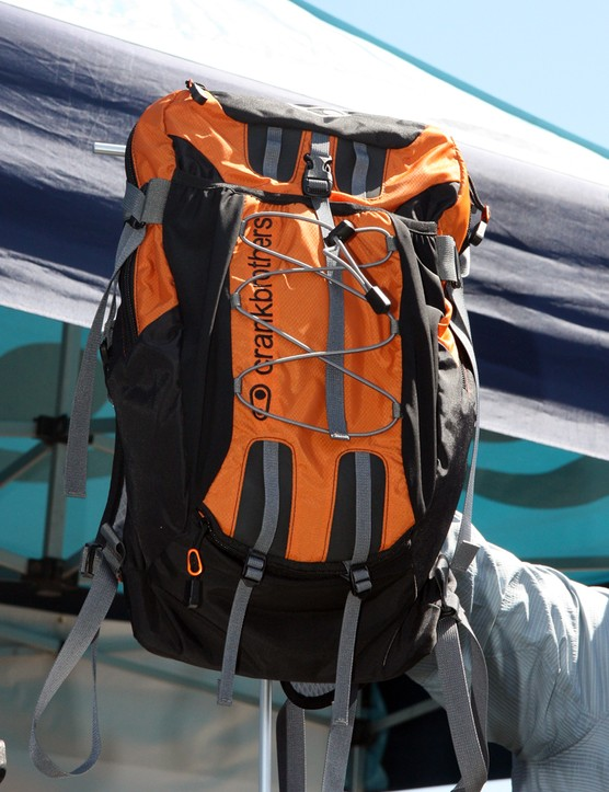 The Descender is the larger of CrankBrothers' two hydration packs, featuring external pockets for pads and a full-face helmet, plus a removable tool organizer