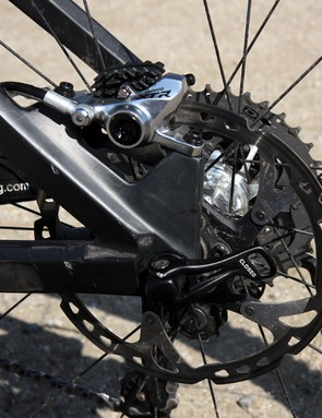 The post mount rear brake tabs are sized for 180mm rotors