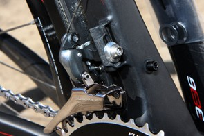 BH's new Ultralight frame uses a carbon fiber front derailleur mounting tab.