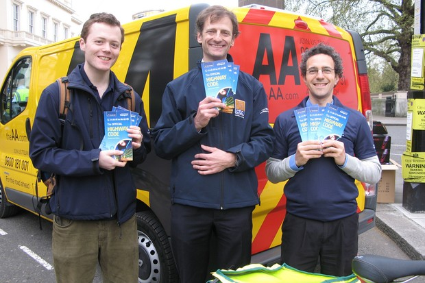 The AA hands out helmets to cyclists, so CTC hands out copies of The Highway Code to drivers.