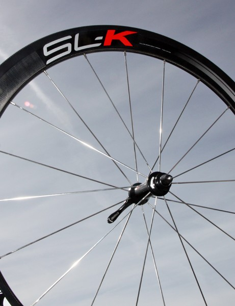 FSA add an SL-K model to their carbon tubular wheel range, using a higher glass fiber content to bring the price down relative to the K-Force flagship. Hubs are machined in-house by FSA