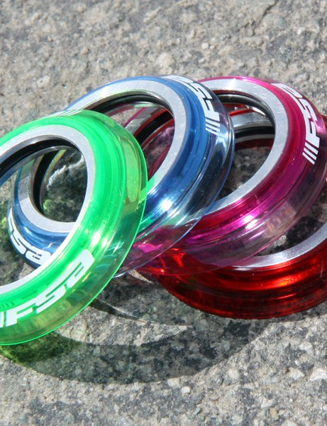 Originally aimed at BMX, FSA's optional polycarbonate caps can be subbed into many of their road and mountain bike headsets to add a splash of color