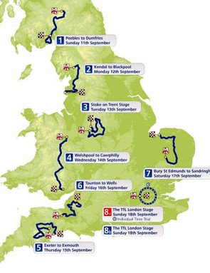 The 2011 Tour of Britain route