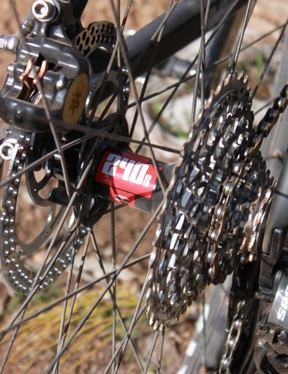 A DT Swiss 240s IS hub is used in Santa Cruz's custom wheelset