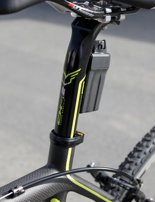 Felt's CXR cold-forged seat post with integrated battery mount