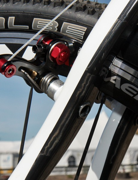 Redline use a pierced brake stud design on the rear of their new Conquest Carbon frame to reduce post flex