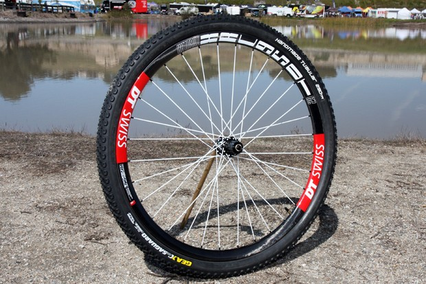 Got US$4,500 to spare?  If so, you can take home DT Swiss's ultralight (as in 1,200g per set) XRC 950T 29er carbon fiber tubular mountain bike wheels