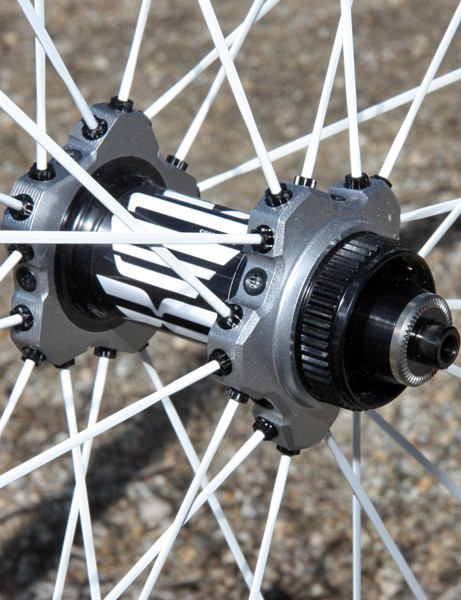 The new DT Swiss Tricon XM1550 29er wheel uses straight-pull spokes arranged in a crow's foot pattern for extra lateral rigidity, all anchored in a separate spoke flange that doesn't influence bearing preload