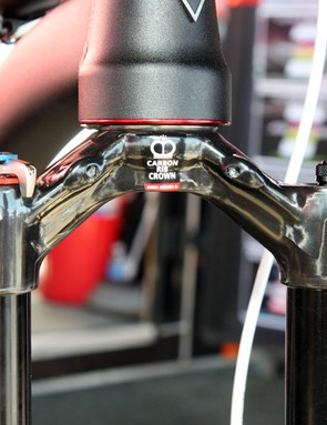DT Swiss's prototype 150mm fork features a carbon fiber crown and tapered steerer that reportedly brings the total weight down to a feathery 1,550g