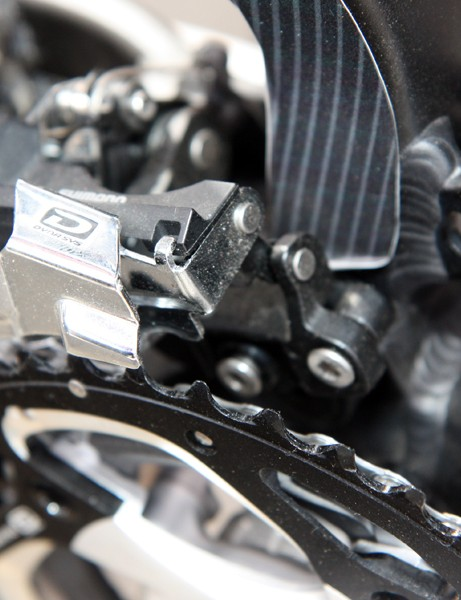 Norco use a direct-mount front derailleur so the seat tube can be more elaborately shaped