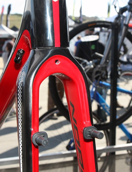 The massive fork crown is drilled through for either a fender or brake housing stop