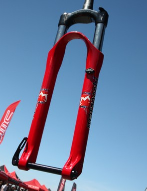 Marzocchi previewed their new Corsa 29 fork at Sea Otter, promising 100mm of travel and a stiff chassis but with just 1,590g (3.5lb) of weight.