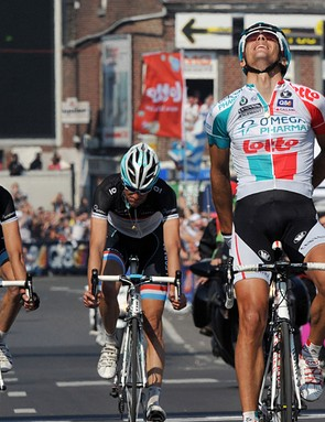 Philippe Gilbert (Omega Pharma-Lotto) does the historic Ardennes Classic triple in Liège-Bastogne-Liège