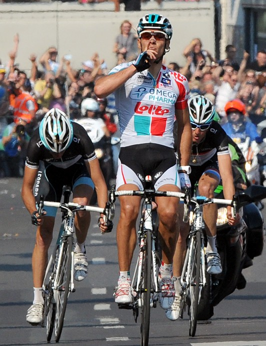 Philippe Gilbert (Omega Pharma-Lotto) celebrates his win over the Schleck brothers