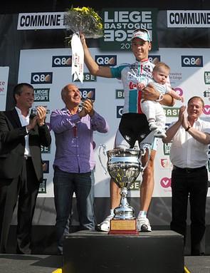 Philippe Gilbert atop the podium