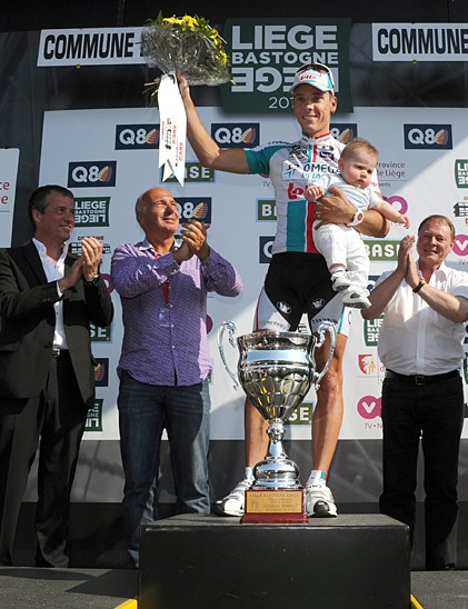 Philippe Gilbert atop the podium