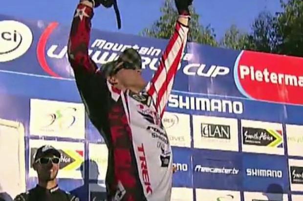 American Aaron Gwin celebrates his triumph in the elite men's downhill at Pietermaritzburg