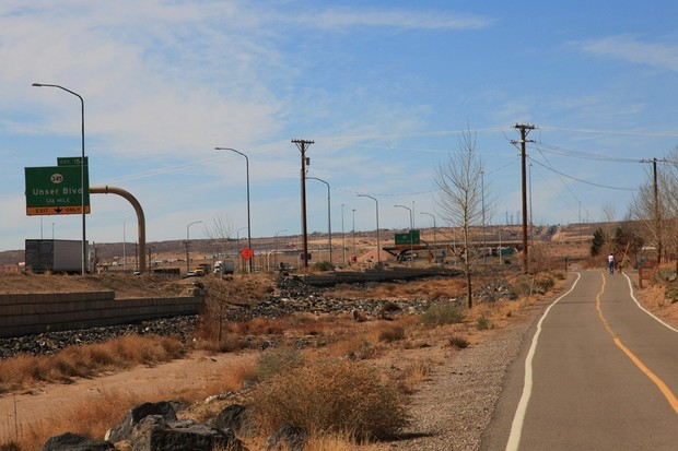 The multi-use path along Unser Boulevard in Albuquerque, NM, both of which now accept bikes
