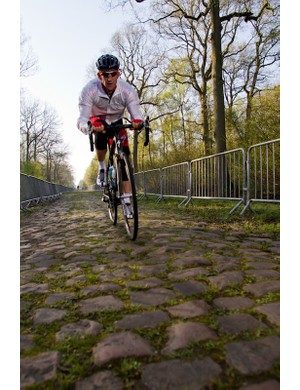 Specialized's marketing manager, Nic Sims, conquering the cobbles