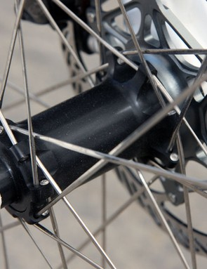 Subaru-Trek team bikes were outfitted with these Bontrager prototype hubs at this year's Sea Otter Classic