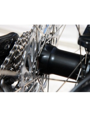 Note the stacked spoke orientation on the driveside flange of Bontrager's prototype disc hubs