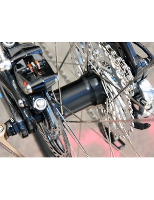 Bontrager's prototype disc hubs use large-diameter aluminum bodies and convertible axle configurations