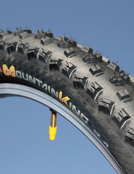Continental's Mountain King tread is designed for looser conditions where the tall, widely spaced knobs can really dig into the ground
