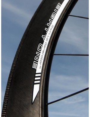 The new Reynolds Eighty-One rim features the Swirl Lip Generator at the nose, which is said to reduce aerodynamic drag, especially at wider yaw angles