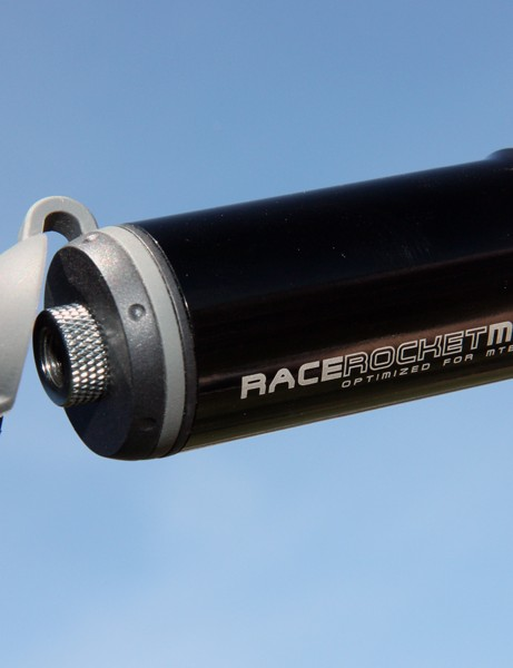 The extendable hose on Topeak's RaceRocket MT tucks neatly into the end of the pump
