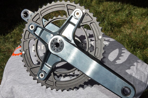 Praxis provided a sneak peek at this prototype design for a super high-performance road crank.  The forged-and-machined arms are fully hollow and the forged and machined chainrings are a single unit.  The final version won't look exactly like this but the general concepts will carry through