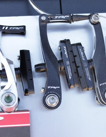 TRP's new CX8.4 brake prototype arm (left), compared to the CX9 set
