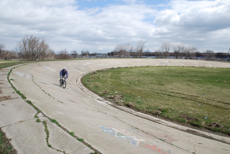 Tim Bolle, of Fraser, Michigan, rides Detroit's lost velodrome on his mountain bike