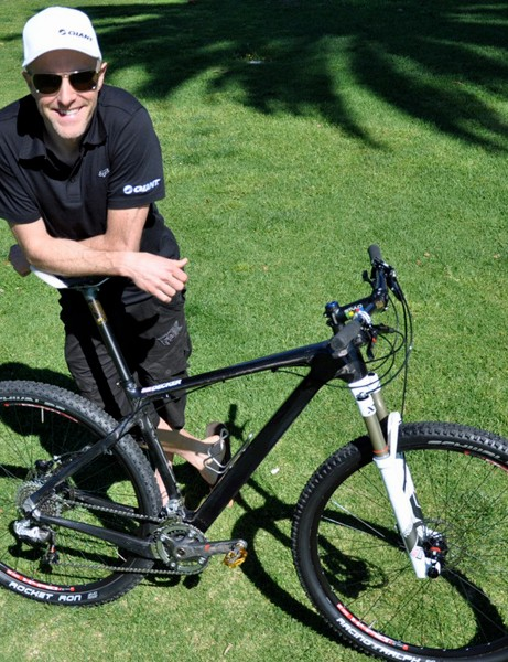 Carl Decker shows off his prototype Giant carbon XtC 29er at the team's training camp in Santa Barbara