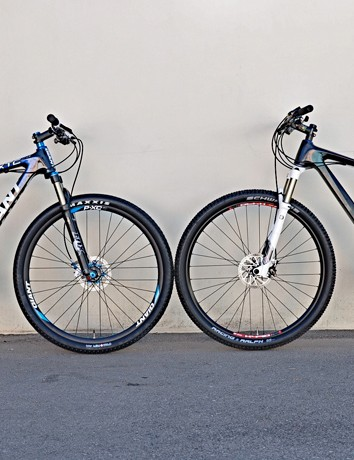 A production sample of the new Giant XtC Composite (left) as compared to Decker's prototype