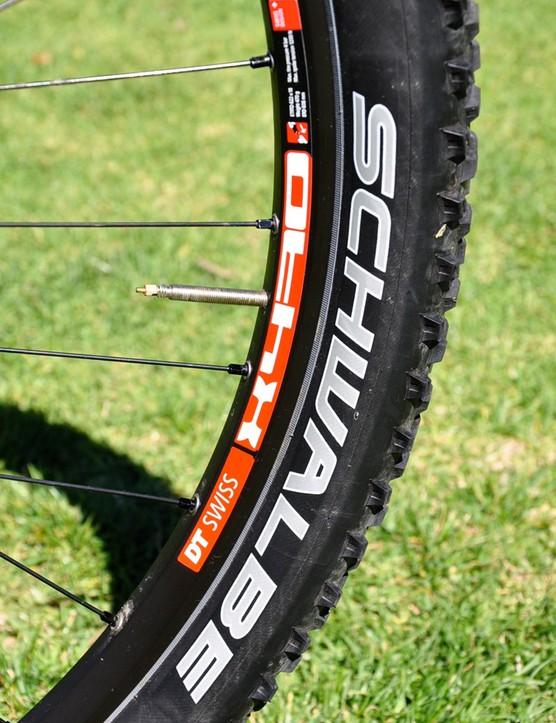 Decker runs his new Schwalbe tires tubeless
