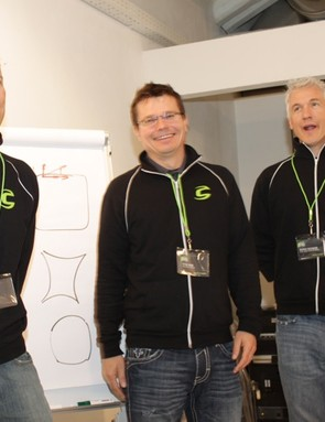Cannondale's EVO launch team: Chris Peck, Peter Denk, and Murray Washburn, Cannondale's global product marketing manager