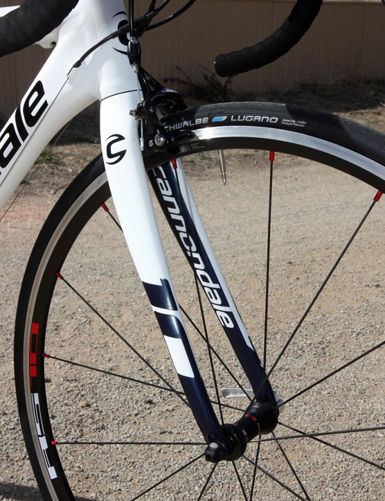 The tapered all-carbon fork - right down to the fork tips - weighs just 390g