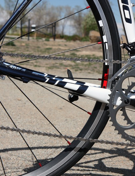 The chain stays and seat stays are strategically flattened to lend more vertical flex to the rear end
