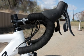 Cannondale includes a house-brand compact-bend aluminum bar on the CAAD10 4 Rival