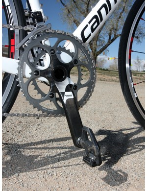 SRAM doesn't offer a BB30 version of its Rival crank so Cannondale has upgraded to a carbon fiber Force version instead