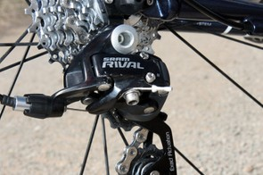 The SRAM Rival rear derailleur, PG-1079 cassette, and KMC chain run quietly together