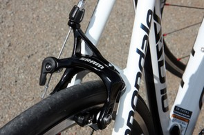 The SRAM Apex dual-pivot brake calipers work well enough but don't lend an especially confident feel at the lever