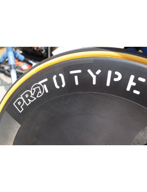 The rear disc has a unique bulged shape that results from additional covers applied to an otherwise standard 70mm-deep aero wheel