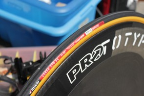 The new tire uses Vittoria's Iso Grip dual compound rubber, which is said to roll fast and grip well but wear rather quickly