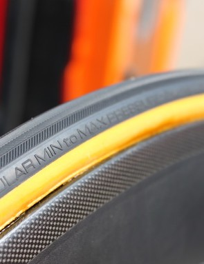 Rabobank's HED time trial rims were specifically designed to work best with wider tires like these new Vittorias