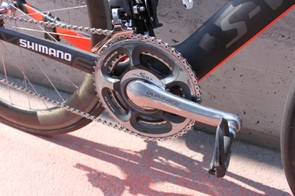 Cavendish uses a Dura-Ace 7900 compatible SRM power meter on almost all of the stages he races