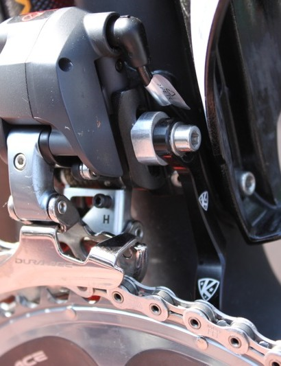 Shimano's Dura-Ace Di2 front derailleur and K-Edge chain watcher